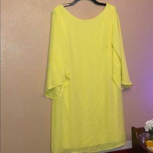 Hello Yellow!  AGB size 12 chiffon back zip dress